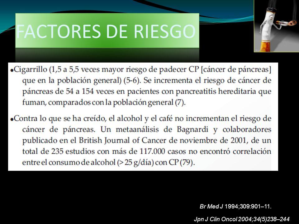 Jpn J Clin Oncol 2004;34(5)238–244 Br Med J 1994;309:901–11. FACTORES DE RIESGO