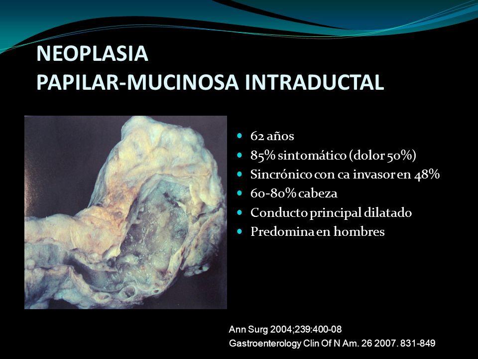 62 años 85% sintomático (dolor 50%) Sincrónico con ca invasor en 48% 60-80% cabeza Conducto principal dilatado Predomina en hombres NEOPLASIA PAPILAR-