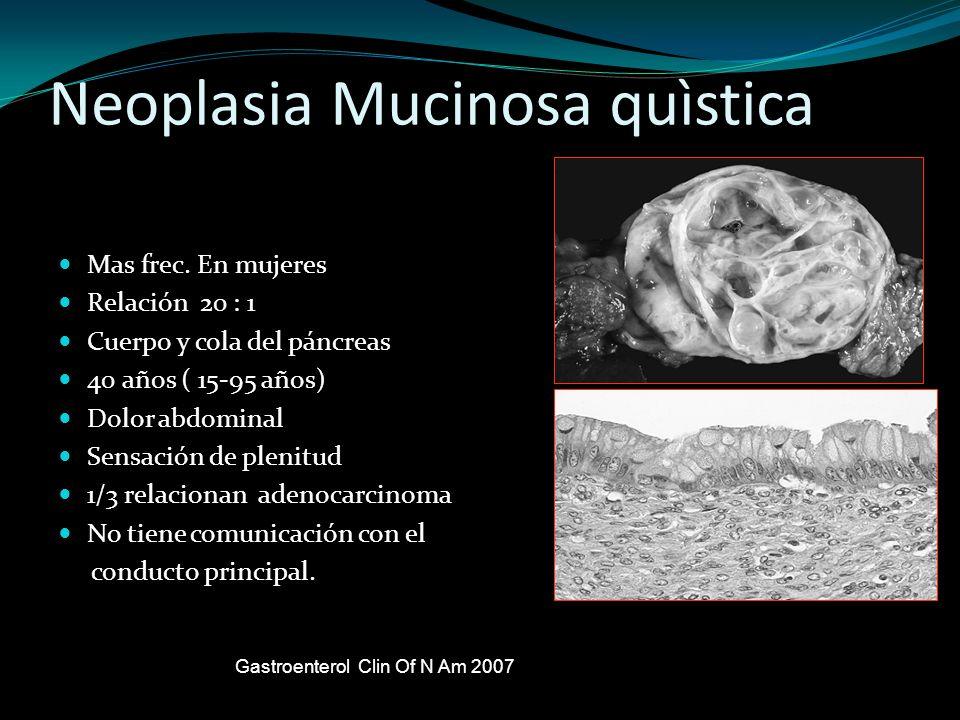 Neoplasia Mucinosa quìstica Mas frec. En mujeres Relación 20 : 1 Cuerpo y cola del páncreas 40 años ( 15-95 años) Dolor abdominal Sensación de plenitu