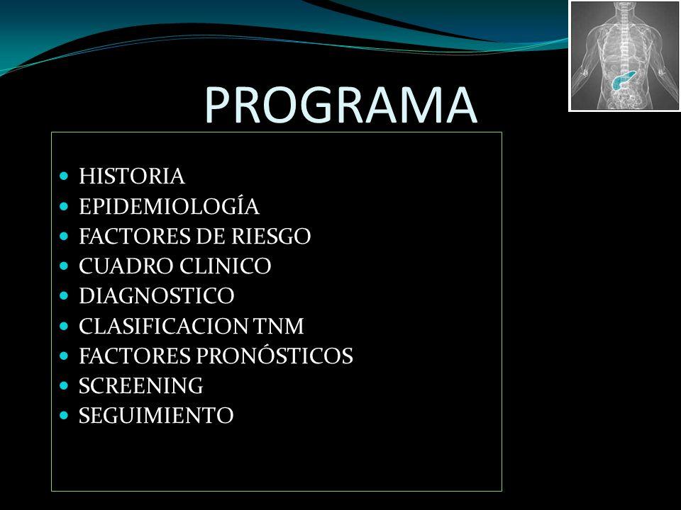 PROGRAMA HISTORIA EPIDEMIOLOGÍA FACTORES DE RIESGO CUADRO CLINICO DIAGNOSTICO CLASIFICACION TNM FACTORES PRONÓSTICOS SCREENING SEGUIMIENTO