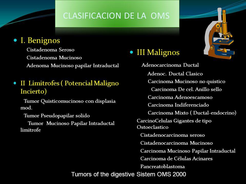 CLASIFICACION DE LA OMS I. Benignos Cistadenoma Seroso Cistadenoma Mucinoso Adenoma Mucinoso papilar Intraductal II Limitrofes ( Potencial Maligno Inc