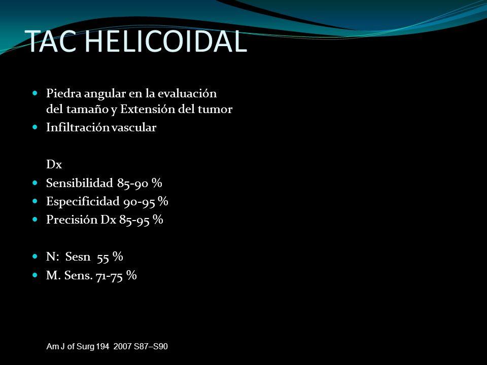 TAC HELICOIDAL Piedra angular en la evaluación del tamaño y Extensión del tumor Infiltración vascular Dx Sensibilidad 85-90 % Especificidad 90-95 % Pr