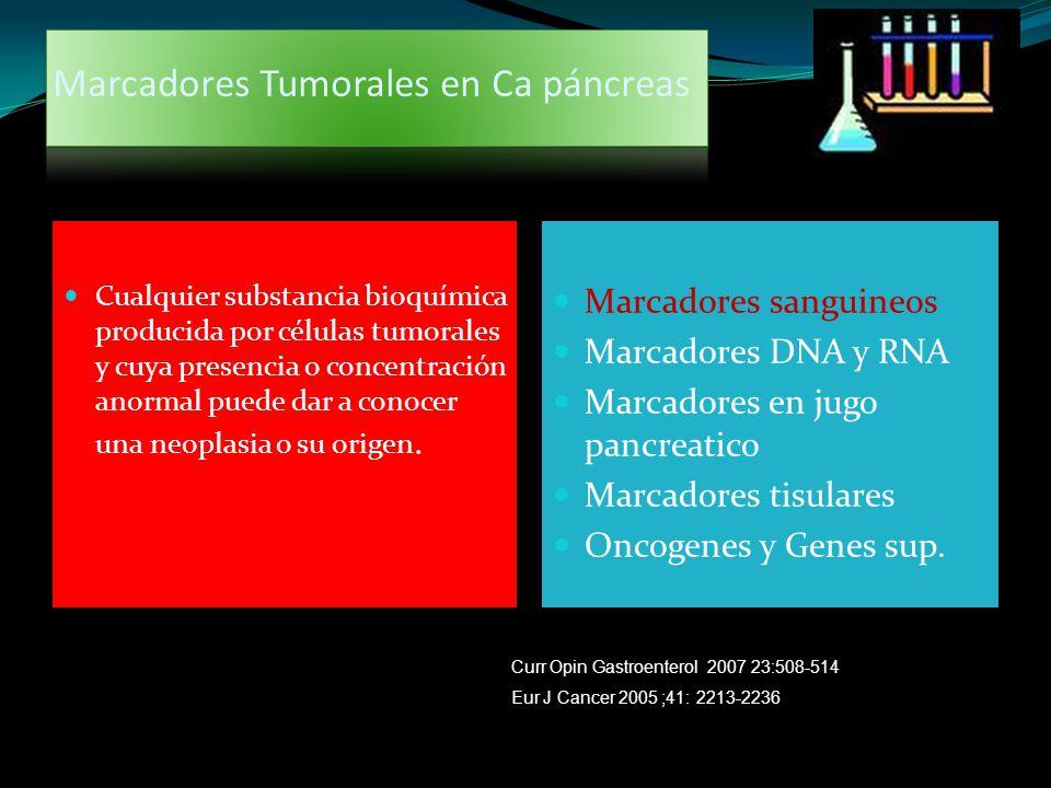 Marcadores Tumorales en Ca páncreas Cualquier substancia bioquímica producida por células tumorales y cuya presencia o concentración anormal puede dar
