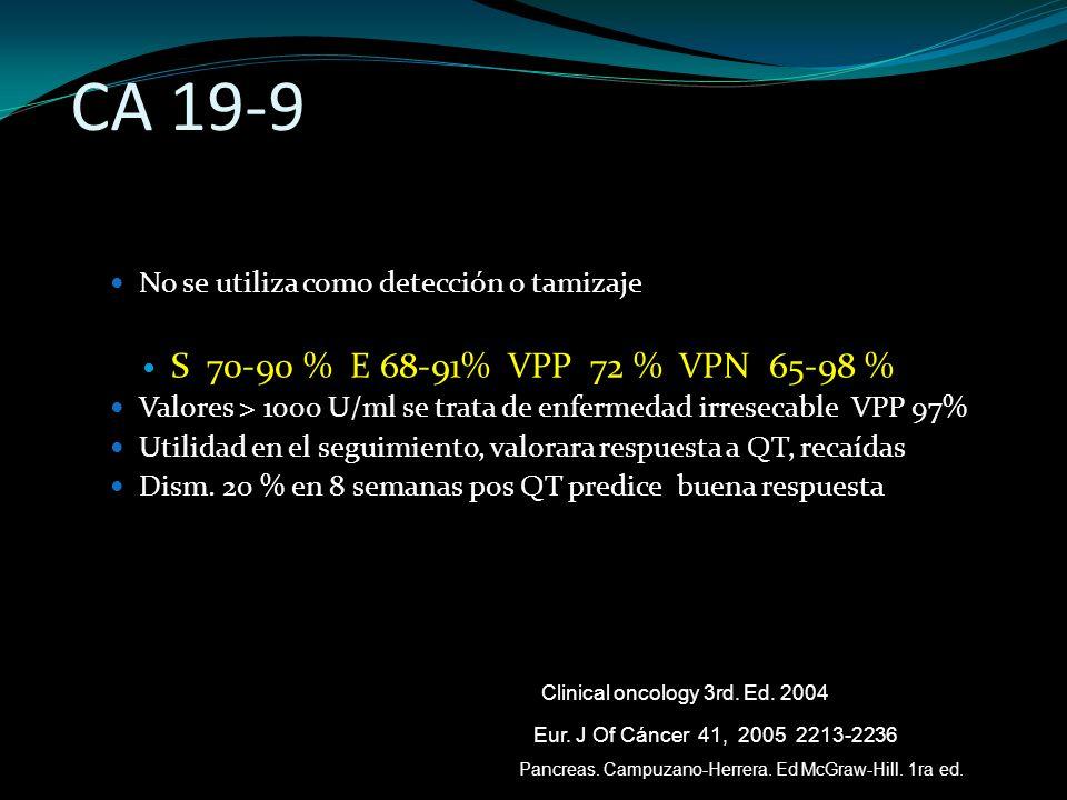 CA 19-9 No se utiliza como detección o tamizaje S 70-90 % E 68-91% VPP 72 % VPN 65-98 % Valores > 1000 U/ml se trata de enfermedad irresecable VPP 97%