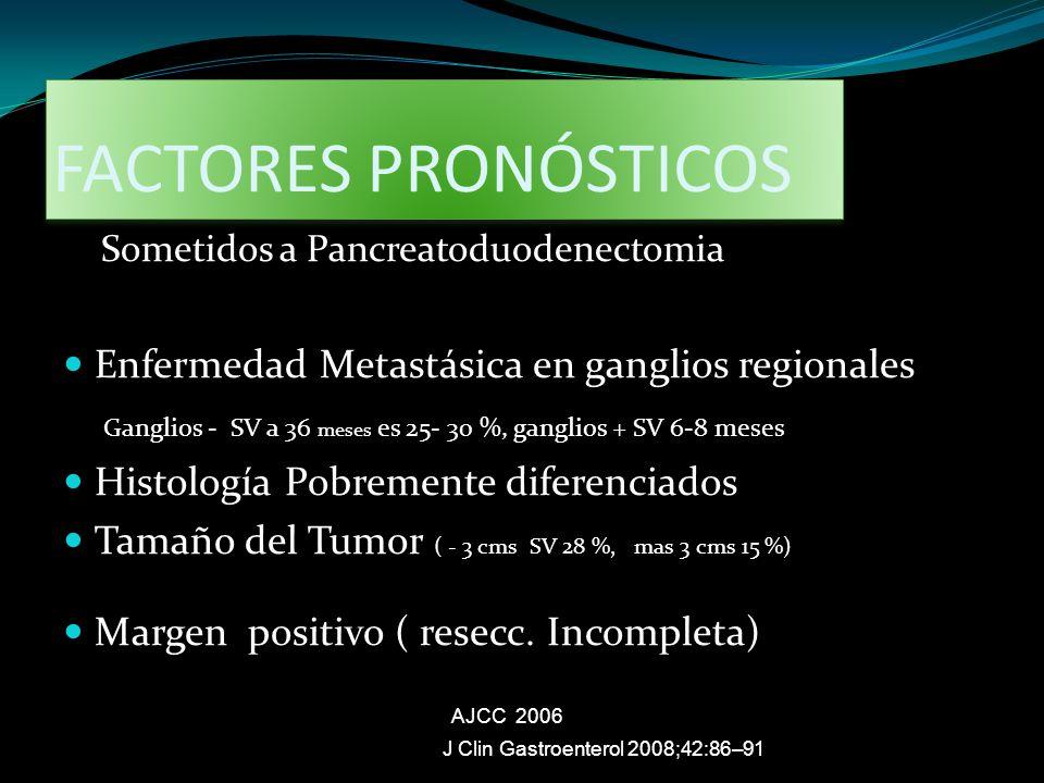 FACTORES PRONÓSTICOS Sometidos a Pancreatoduodenectomia Enfermedad Metastásica en ganglios regionales Ganglios - SV a 36 meses es 25- 30 %, ganglios +