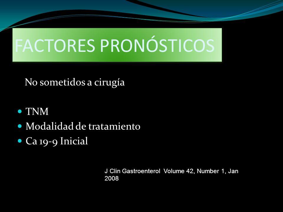 FACTORES PRONÓSTICOS No sometidos a cirugía TNM Modalidad de tratamiento Ca 19-9 Inicial J Clin Gastroenterol Volume 42, Number 1, Jan 2008