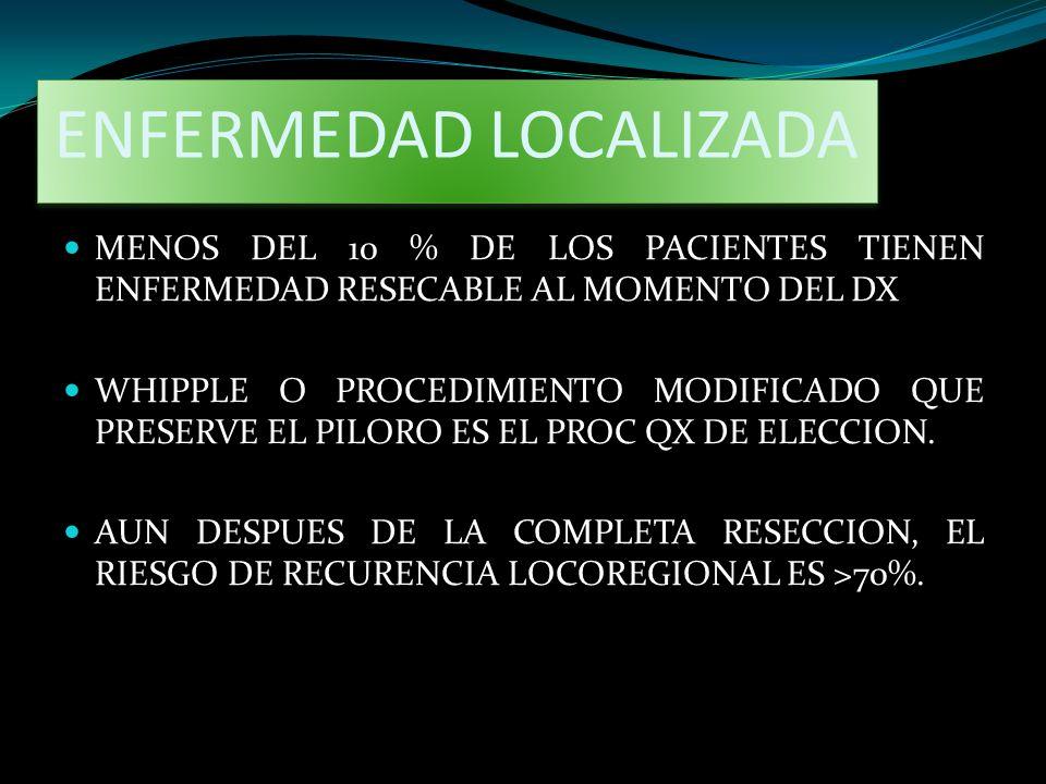 ENFERMEDAD LOCALIZADA MENOS DEL 10 % DE LOS PACIENTES TIENEN ENFERMEDAD RESECABLE AL MOMENTO DEL DX WHIPPLE O PROCEDIMIENTO MODIFICADO QUE PRESERVE EL