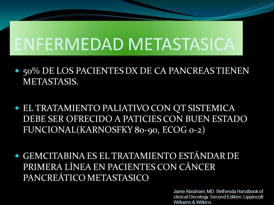 ENFERMEDAD METASTASICA 50% DE LOS PACIENTES DX DE CA PANCREAS TIENEN METASTASIS. EL TRATAMIENTO PALIATIVO CON QT SISTEMICA DEBE SER OFRECIDO A PATICIE