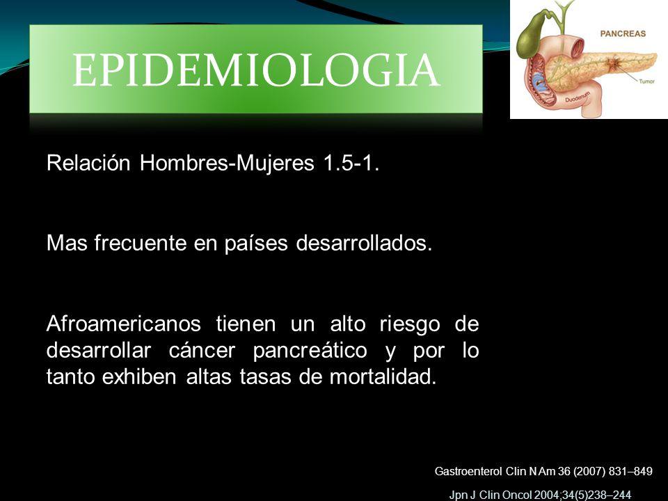 Jpn J Clin Oncol 2004;34(5)238–244 Gastroenterol Clin N Am 36 (2007) 831–849 Relación Hombres-Mujeres 1.5-1. Mas frecuente en países desarrollados. Af