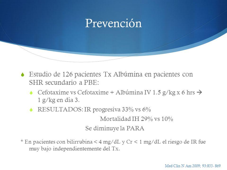 Prevención Estudio de 126 pacientes Tx Albúmina en pacientes con SHR secundario a PBE: Cefotaxime vs Cefotaxime + Albúmina IV 1.5 g/kg x 6 hrs 1 g/kg