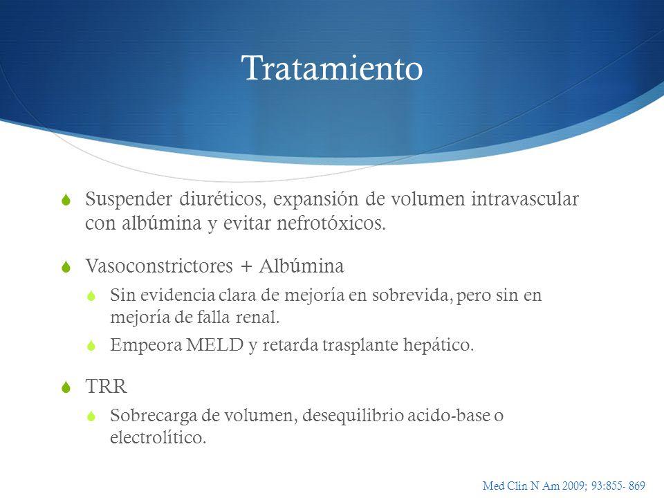 Tratamiento Suspender diuréticos, expansión de volumen intravascular con albúmina y evitar nefrotóxicos. Vasoconstrictores + Albúmina Sin evidencia cl