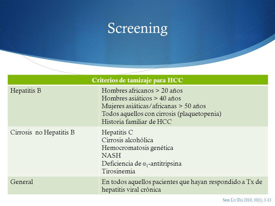 Screening Criterios de tamizaje para HCC Hepatitis BHombres africanos > 20 años Hombres asiáticos > 40 años Mujeres asiáticas/africanas > 50 años Todo