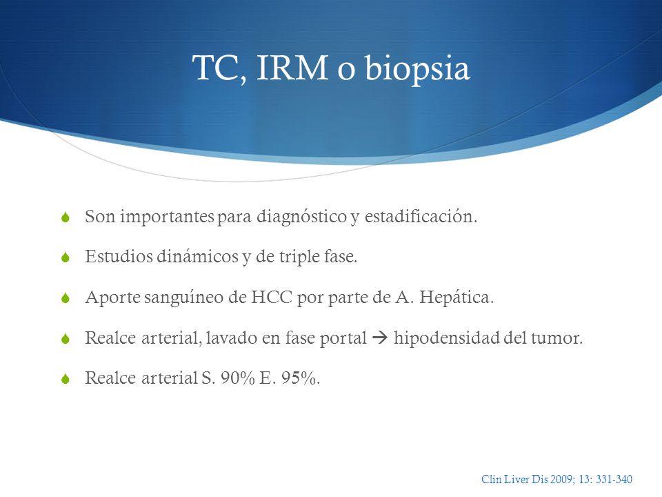 TC, IRM o biopsia Son importantes para diagnóstico y estadificación. Estudios dinámicos y de triple fase. Aporte sanguíneo de HCC por parte de A. Hepá