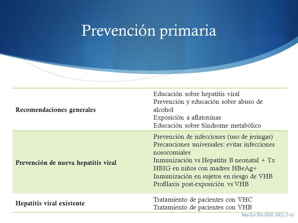 Prevención primaria Recomendaciones generales Educación sobre hepatitis viral Prevención y educación sobre abuso de alcohol Exposición a aflatoxinas E