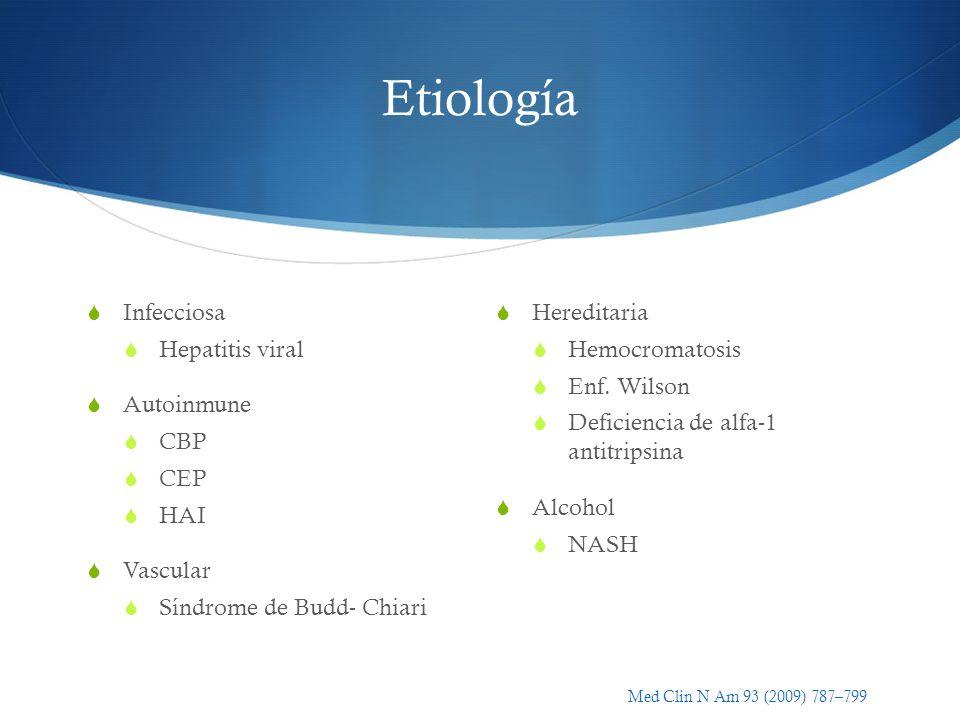 Etiología Infecciosa Hepatitis viral Autoinmune CBP CEP HAI Vascular Síndrome de Budd- Chiari Hereditaria Hemocromatosis Enf. Wilson Deficiencia de al