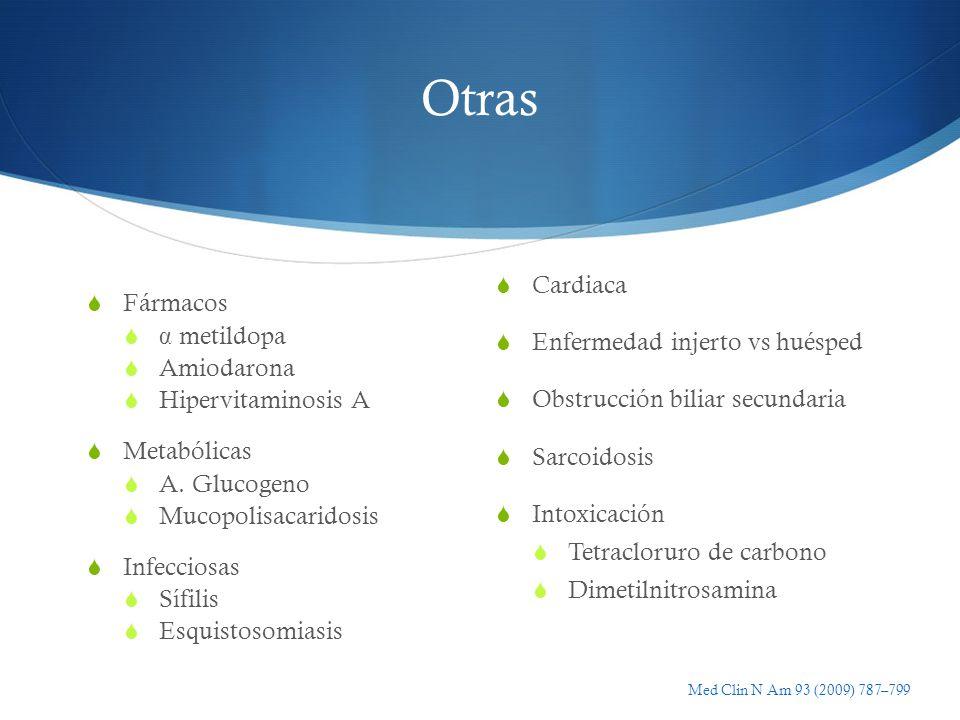 Otras Fármacos α metildopa Amiodarona Hipervitaminosis A Metabólicas A. Glucogeno Mucopolisacaridosis Infecciosas Sífilis Esquistosomiasis Cardiaca En