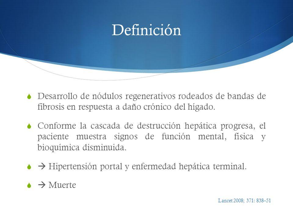 Insuficiencia renal en paciente cirrótico Fuga tercer espacio, diuresis excesiva, vómito, diarrea, hemorragia, paracentesis reciente, cambios hemodinámicos por uso de AINEs o IECA Uso reciente fármacos nefrotóxicos Proteinuria glomerular y hematuria Imagen (TC, USG) con hidronefrosis o retención urinaria Hipertensión portal (ascitis), Cr > 1.5 Complicaciones renales: Abordaje Med Clin N Am 2009; 93:855- 869