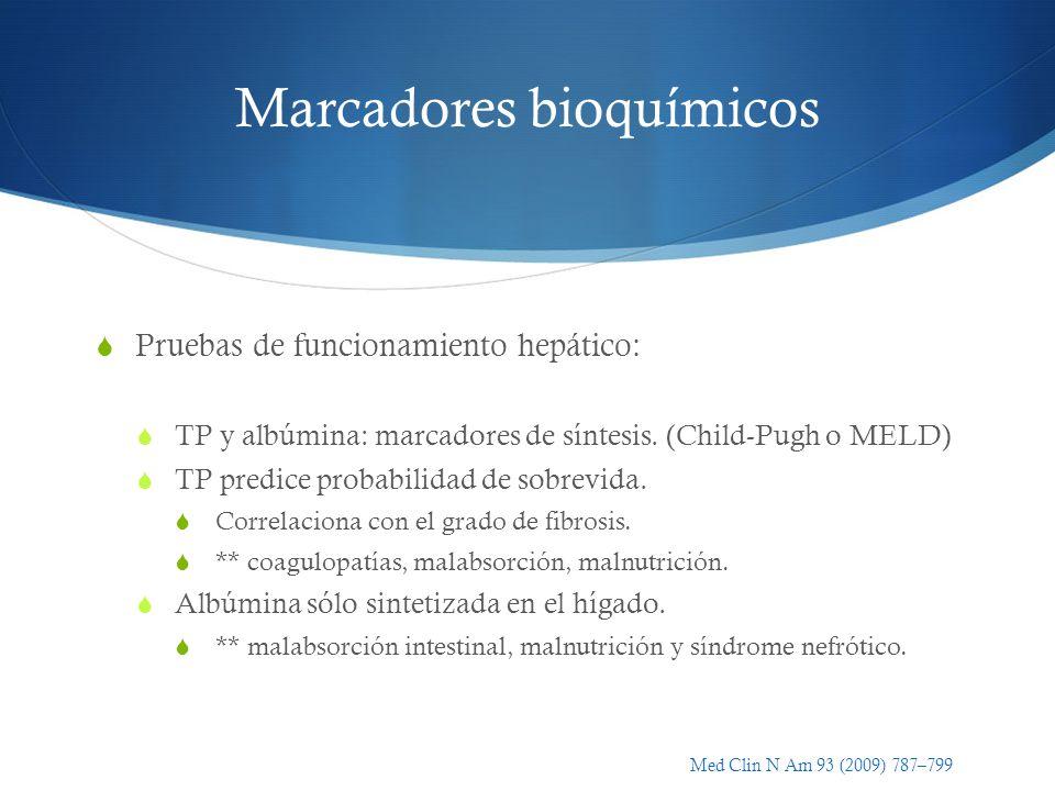 Marcadores bioquímicos Pruebas de funcionamiento hepático: TP y albúmina: marcadores de síntesis. (Child-Pugh o MELD) TP predice probabilidad de sobre