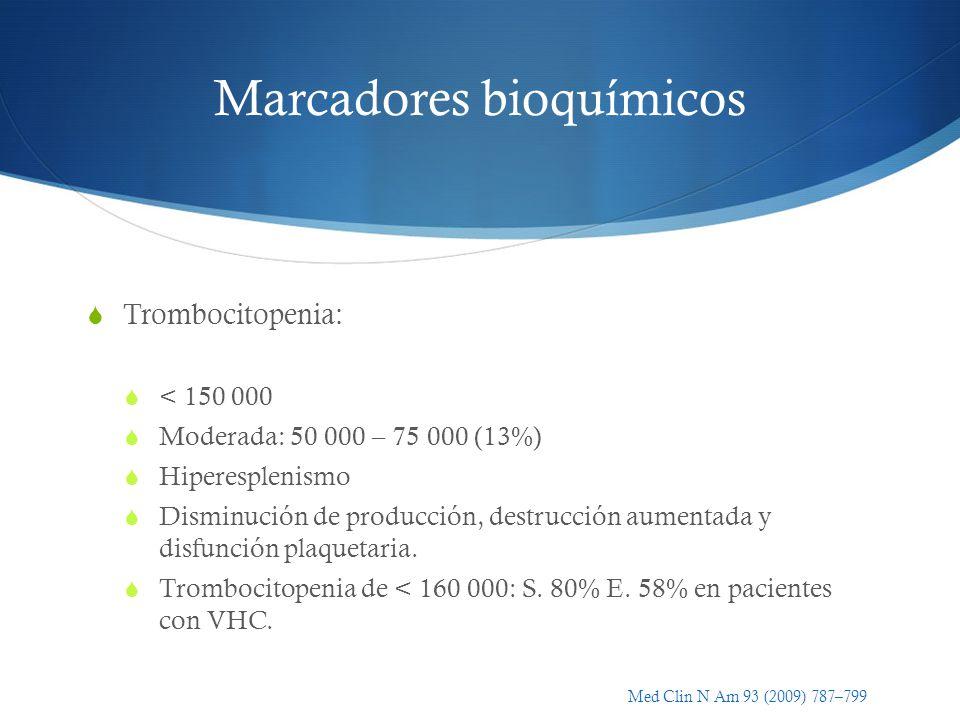 Marcadores bioquímicos Trombocitopenia: < 150 000 Moderada: 50 000 – 75 000 (13%) Hiperesplenismo Disminución de producción, destrucción aumentada y d