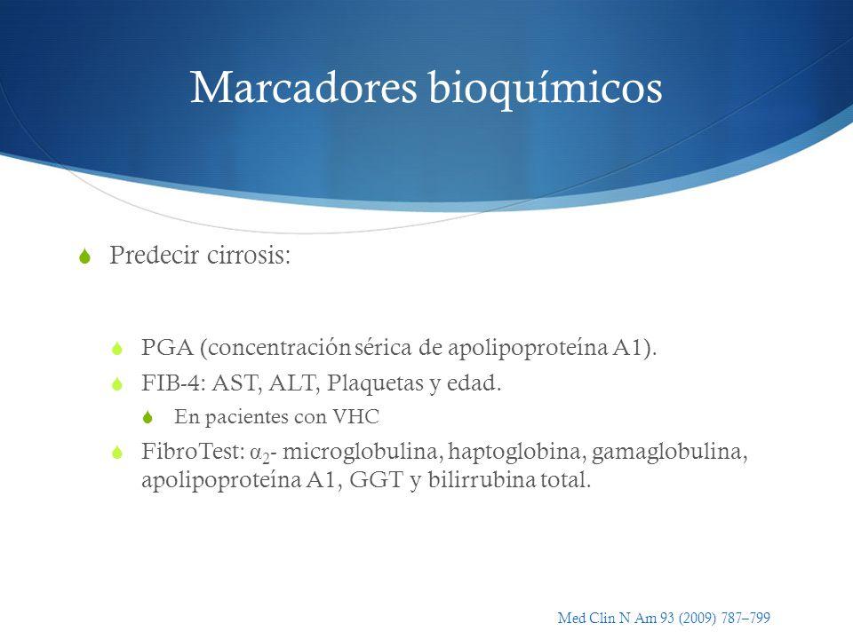 Marcadores bioquímicos Predecir cirrosis: PGA (concentración sérica de apolipoproteína A1). FIB-4: AST, ALT, Plaquetas y edad. En pacientes con VHC Fi
