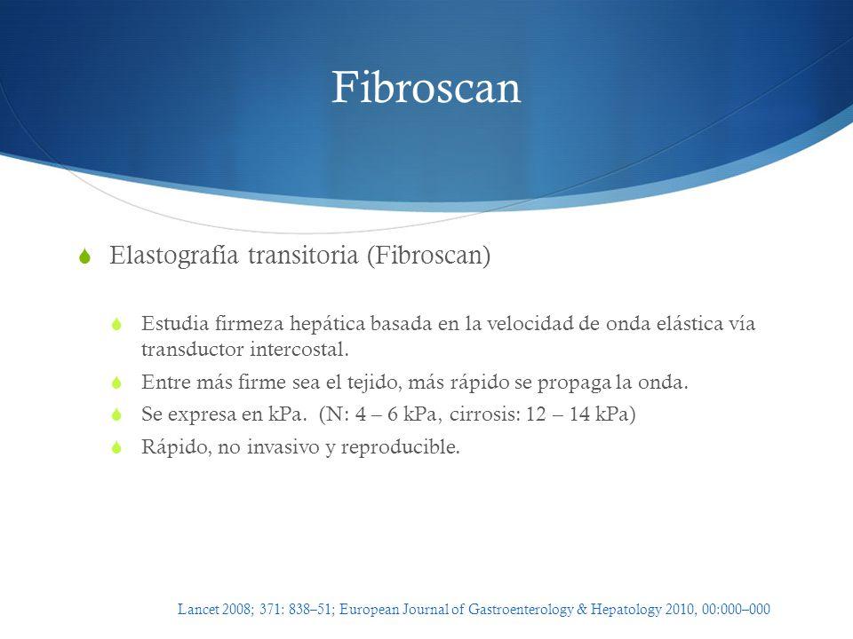 Fibroscan Elastografía transitoria (Fibroscan) Estudia firmeza hepática basada en la velocidad de onda elástica vía transductor intercostal. Entre más
