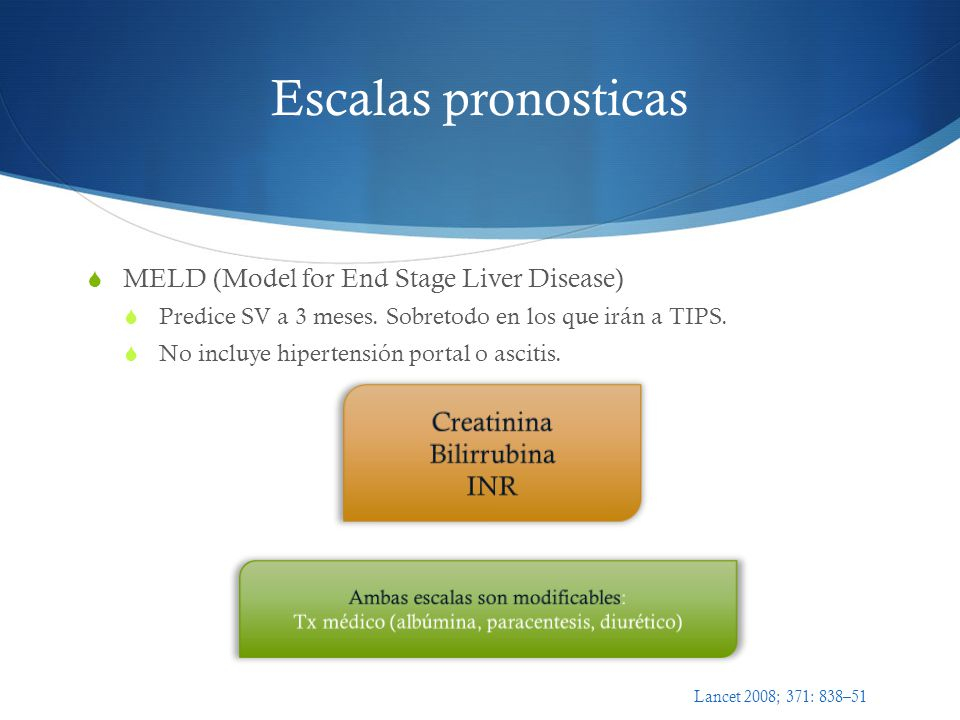 Escalas pronosticas MELD (Model for End Stage Liver Disease) Predice SV a 3 meses.