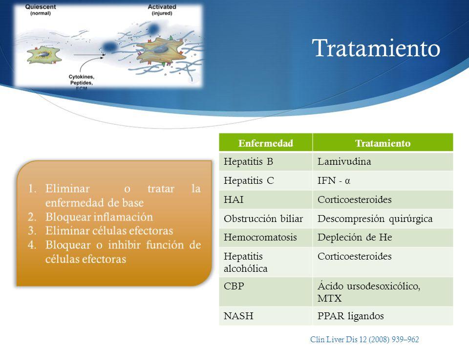 Tratamiento EnfermedadTratamiento Hepatitis BLamivudina Hepatitis CIFN - α HAICorticoesteroides Obstrucción biliarDescompresión quirúrgica Hemocromato