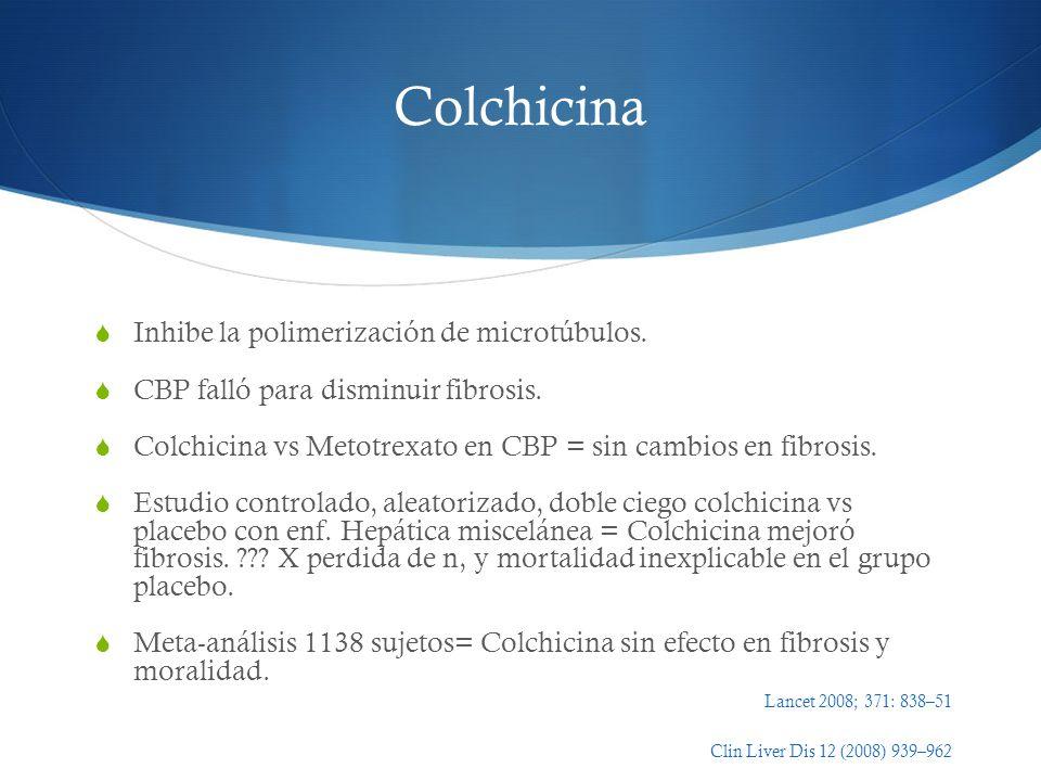 Colchicina Inhibe la polimerización de microtúbulos. CBP falló para disminuir fibrosis. Colchicina vs Metotrexato en CBP = sin cambios en fibrosis. Es