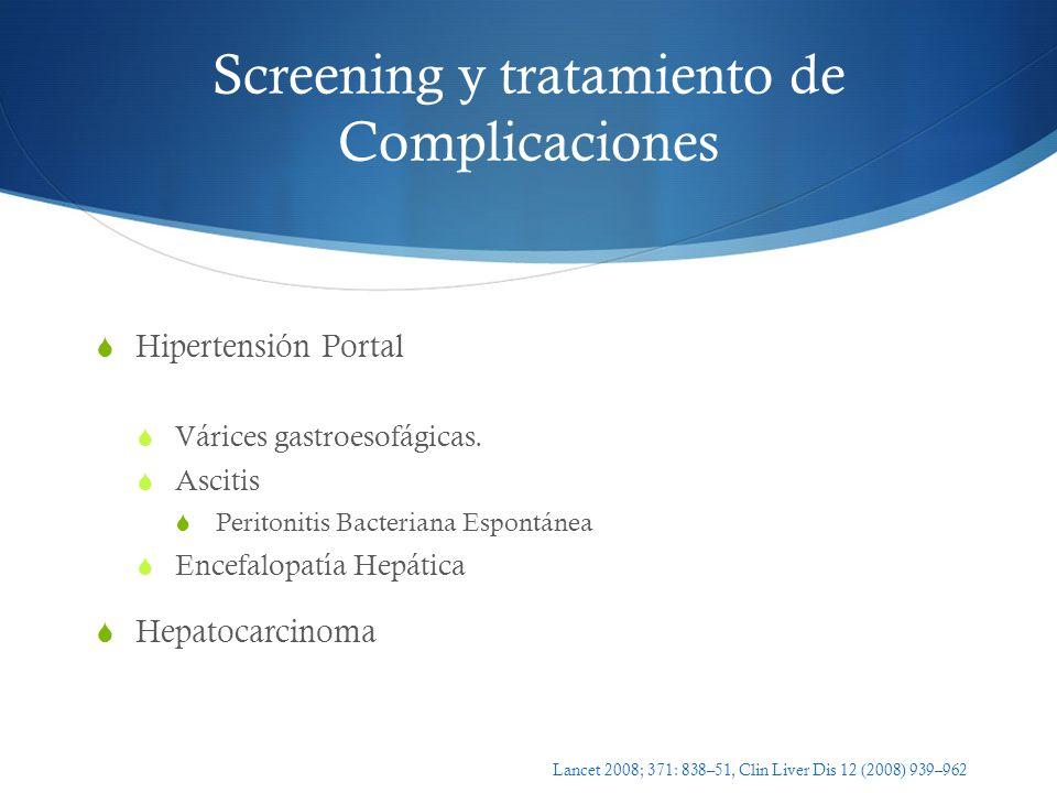 Screening y tratamiento de Complicaciones Hipertensión Portal Várices gastroesofágicas. Ascitis Peritonitis Bacteriana Espontánea Encefalopatía Hepáti