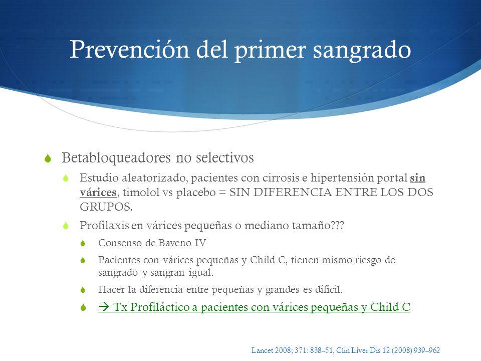 Prevención del primer sangrado Betabloqueadores no selectivos Estudio aleatorizado, pacientes con cirrosis e hipertensión portal sin várices, timolol