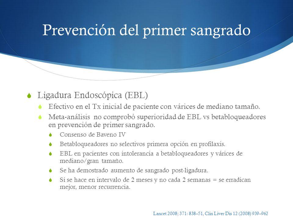 Prevención del primer sangrado Ligadura Endoscópica (EBL) Efectivo en el Tx inicial de paciente con várices de mediano tamaño. Meta-análisis no compro