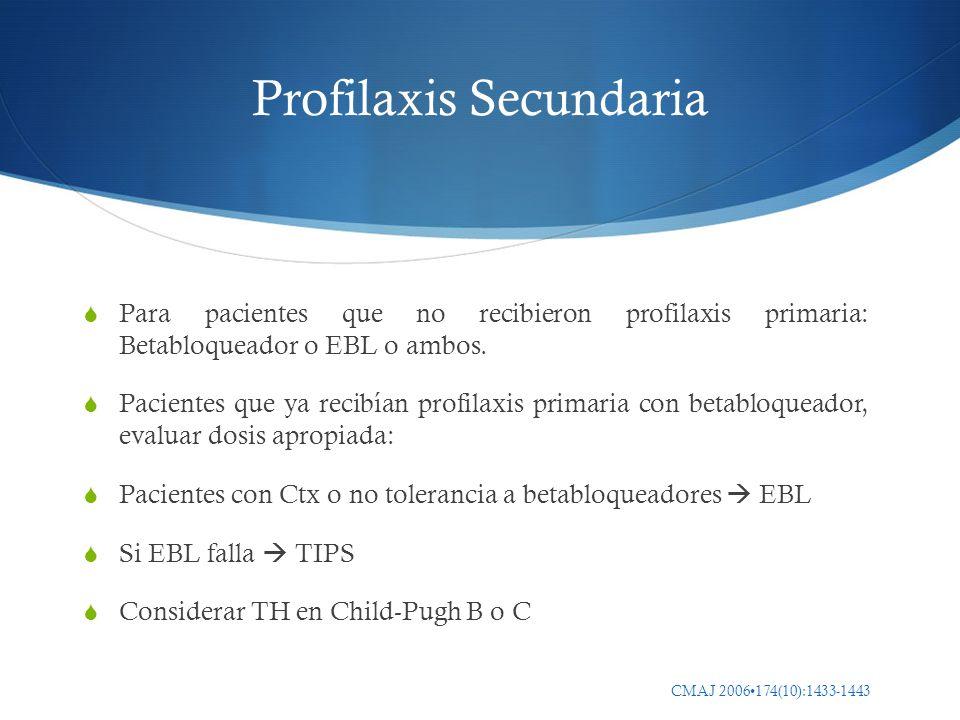 CMAJ 2006174(10):1433-1443 Profilaxis Secundaria Para pacientes que no recibieron profilaxis primaria: Betabloqueador o EBL o ambos. Pacientes que ya