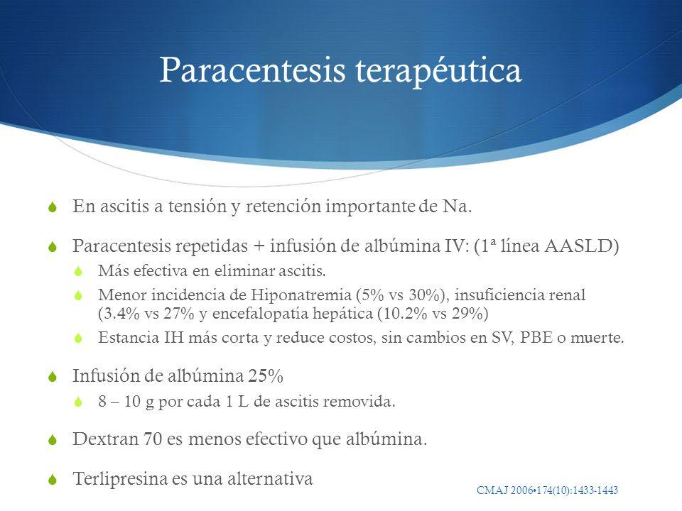 Paracentesis terapéutica En ascitis a tensión y retención importante de Na. Paracentesis repetidas + infusión de albúmina IV: (1ª línea AASLD) Más efe