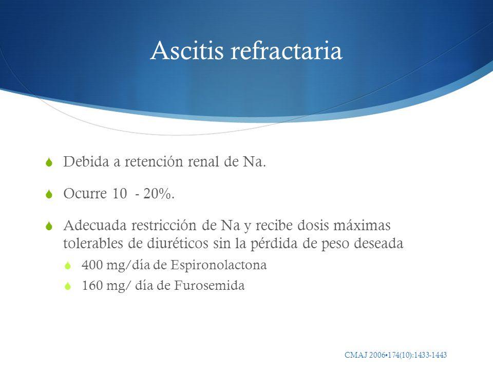 Ascitis refractaria Debida a retención renal de Na. Ocurre 10 - 20%. Adecuada restricción de Na y recibe dosis máximas tolerables de diuréticos sin la