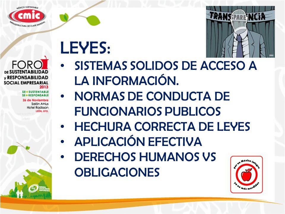 LEYES: SISTEMAS SOLIDOS DE ACCESO A LA INFORMACIÓN.