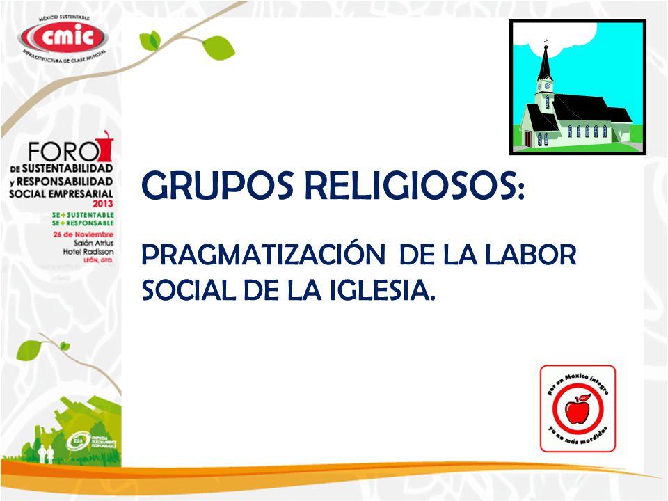 GRUPOS RELIGIOSOS: PRAGMATIZACIÓN DE LA LABOR SOCIAL DE LA IGLESIA.