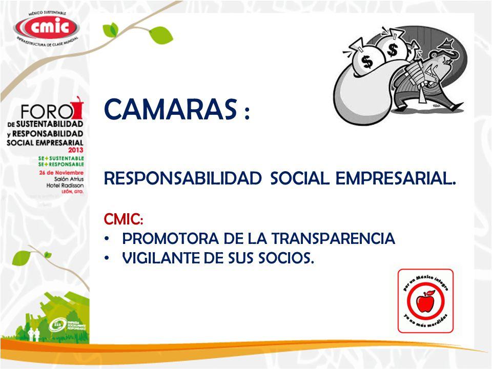 CAMARAS : RESPONSABILIDAD SOCIAL EMPRESARIAL.