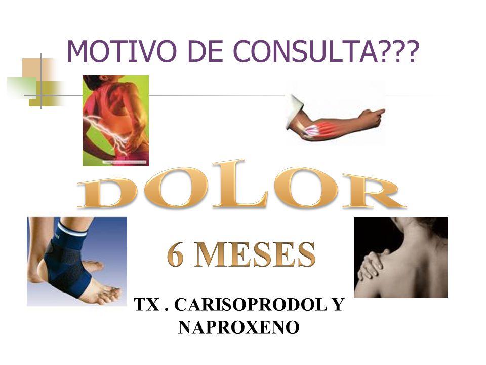 MOTIVO DE CONSULTA??? TX. CARISOPRODOL Y NAPROXENO