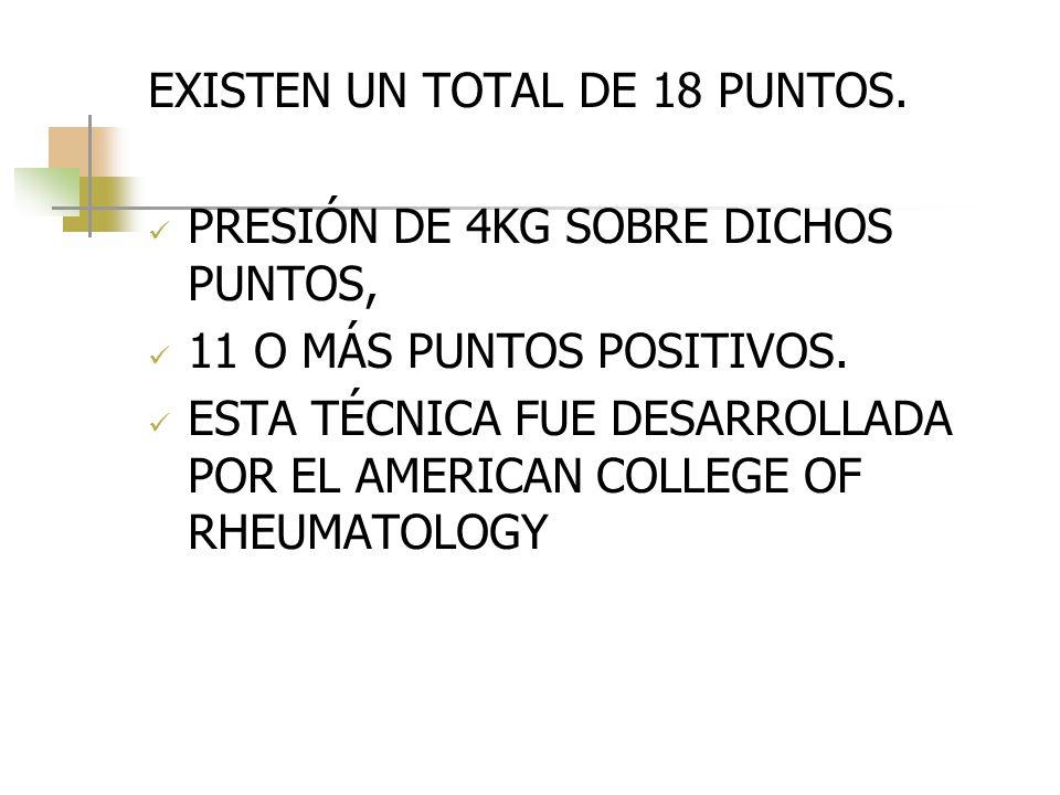 DIAGNÓSTICO EXISTEN UN TOTAL DE 18 PUNTOS. PRESIÓN DE 4KG SOBRE DICHOS PUNTOS, 11 O MÁS PUNTOS POSITIVOS. ESTA TÉCNICA FUE DESARROLLADA POR EL AMERICA