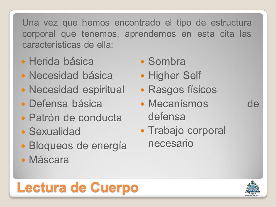 Lectura de Cuerpo Herida básica Necesidad básica Necesidad espiritual Defensa básica Patrón de conducta Sexualidad Bloqueos de energía Máscara Sombra