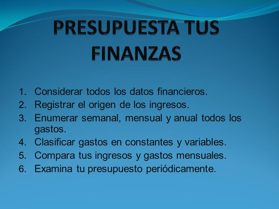 1. Considerar todos los datos financieros. 2. Registrar el origen de los ingresos. 3. Enumerar semanal, mensual y anual todos los gastos. 4. Clasifica