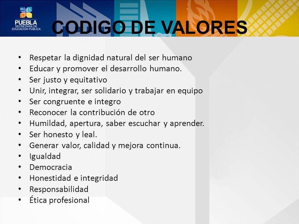 CODIGO DE VALORES Respetar la dignidad natural del ser humano Educar y promover el desarrollo humano. Ser justo y equitativo Unir, integrar, ser solid