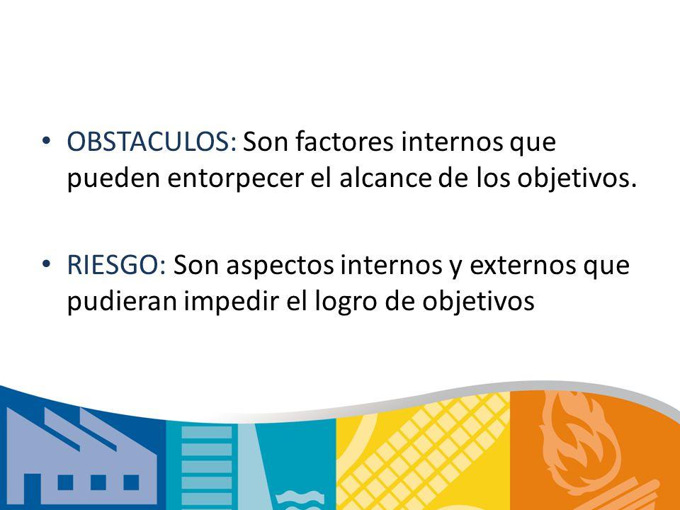 OBSTACULOS: Son factores internos que pueden entorpecer el alcance de los objetivos.
