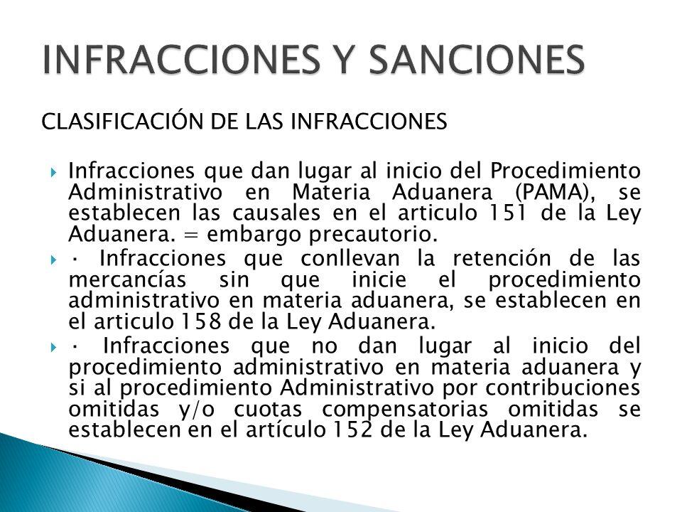 CLASIFICACIÓN DE LAS INFRACCIONES Infracciones que dan lugar al inicio del Procedimiento Administrativo en Materia Aduanera (PAMA), se establecen las causales en el articulo 151 de la Ley Aduanera.