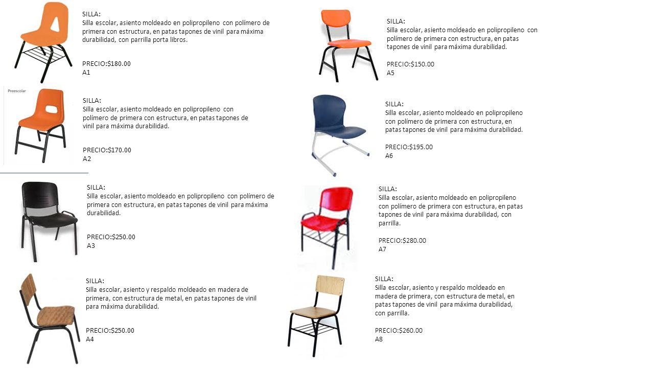 SILLA: Silla escolar, asiento moldeado en polipropileno con polímero de primera con estructura, en patas tapones de vinil para máxima durabilidad, con