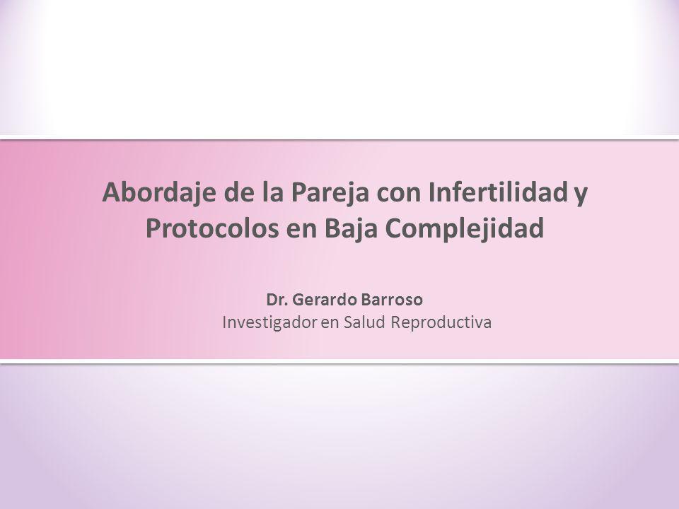 Abordaje de la pareja con Infertilidad y Protocolos en Baja Complejidad Inducción de ovulación para coito programado Serophene 50 mg ReglaDía 3 hasta día 7 Idealmente ultrasonografía Folículo > 10 mm Día 8 y 9Día 12 Ovidrel 1 ámpula Relaciones Día 21-23 Cuantificación de progesterona Sérica