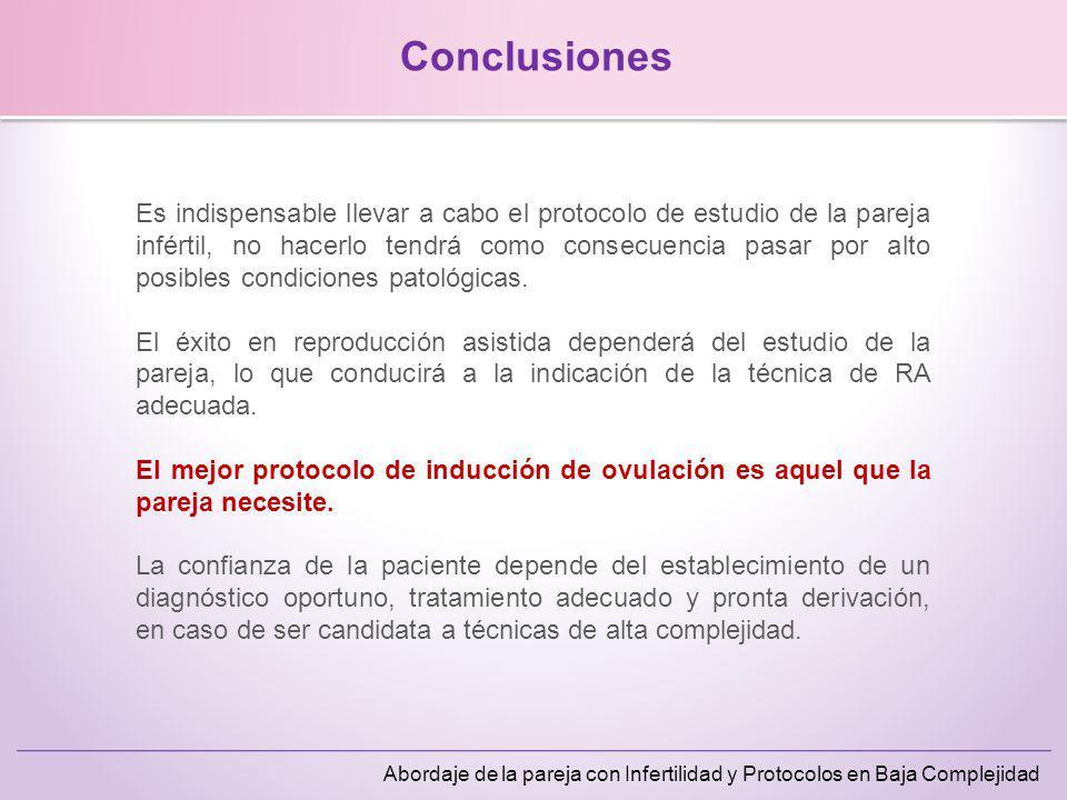 Abordaje de la pareja con Infertilidad y Protocolos en Baja Complejidad Conclusiones Es indispensable llevar a cabo el protocolo de estudio de la pare