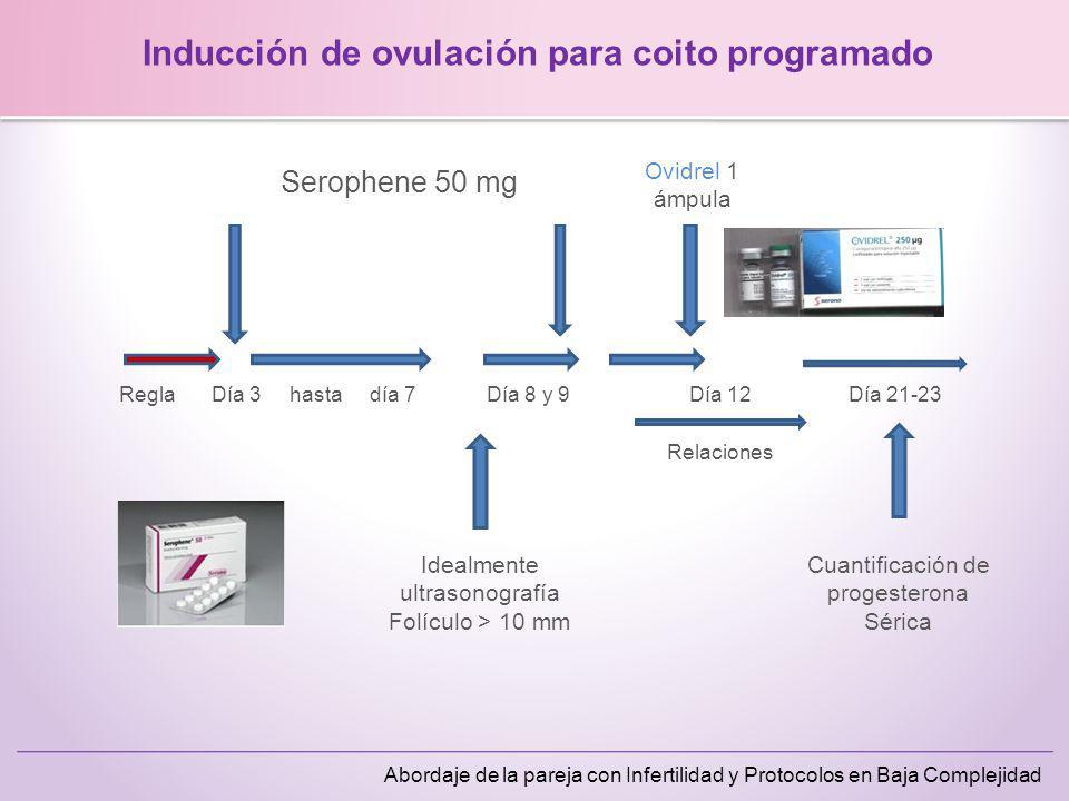 Abordaje de la pareja con Infertilidad y Protocolos en Baja Complejidad Inducción de ovulación para coito programado Serophene 50 mg ReglaDía 3 hasta