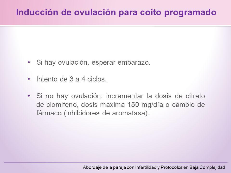 Abordaje de la pareja con Infertilidad y Protocolos en Baja Complejidad Oligomenorrea (1-6 meses)80% HAFO76% Amenorrea post-anticonceptivo75% Amenorrea psicógena60% Oligo-ovulación(> 6 meses) 53% Amenorrea por lactancia42% No respuesta OMS clase 1 Inducción de ovulación con citrato de clomifeno Emre Seli et al.