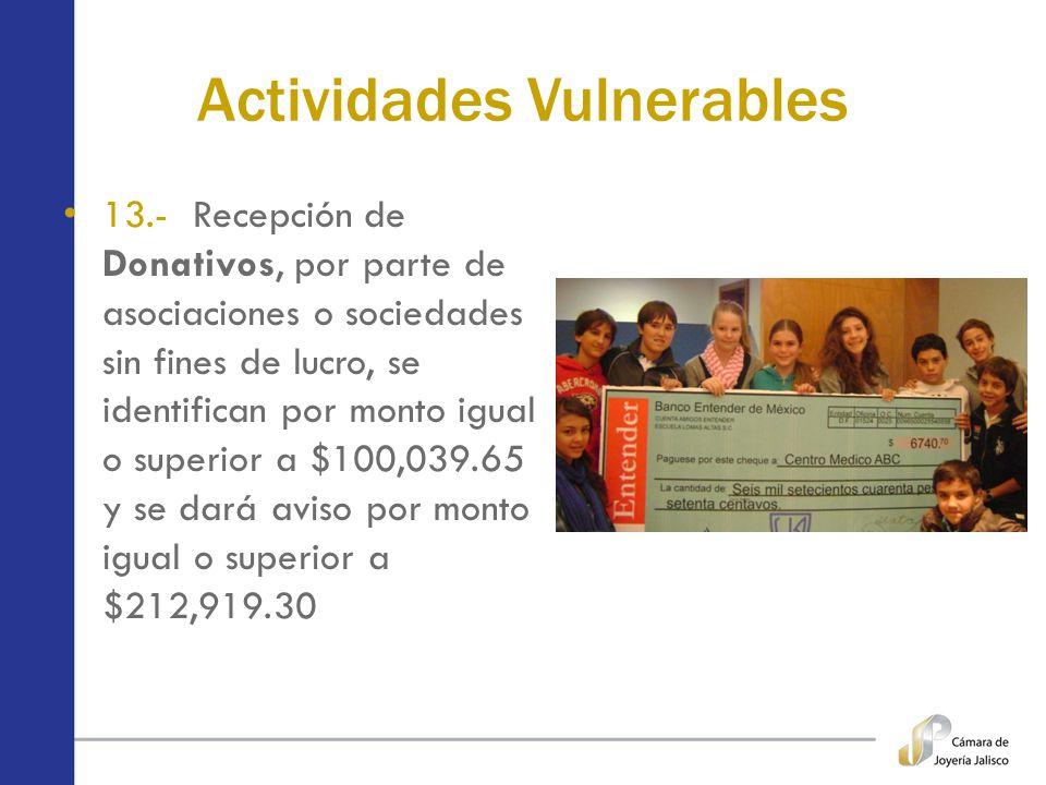 Actividades Vulnerables 13.- Recepción de Donativos, por parte de asociaciones o sociedades sin fines de lucro, se identifican por monto igual o super